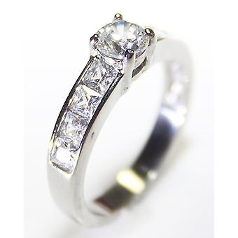 Ah! Bijoux en acier inoxydable Princess Cut bague en diamants simulé