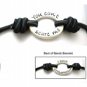 TOC Bandz You Can't Scare Me.. I Have Children... 6 Inch Black Stretch Bracelet