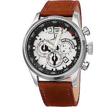 Joshua & Sons Men's Quartz Deep-Set Dial Chronograph On Geniune Leather Strap Watch JX137TN