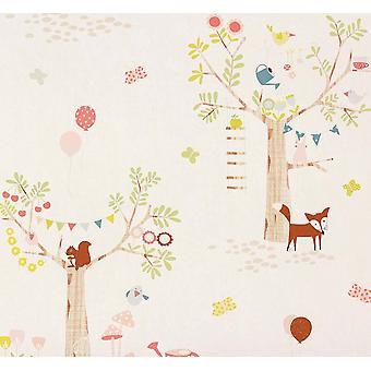 Oiseau papillon Woodland motif Childrens Wallpaper forêt arbre lapin Rasch
