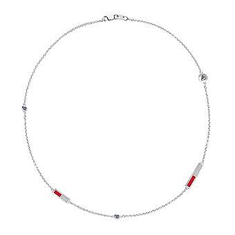 California State U Northridge CSUN logo indgraveret hvid safir 5-Station halskæde i rød og lysegrå
