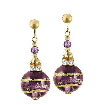 Eternal Collection Focale Amethyst Murano Glass Gold Tone Drop Clip On Earrings