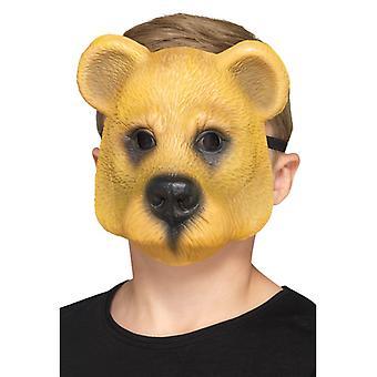 Bambino maschera mezza maschera carnevale degli animali di orso orso