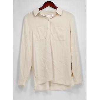 Susan graver Top Stretch Peachskin knop front shirt Ivory Cream A271652