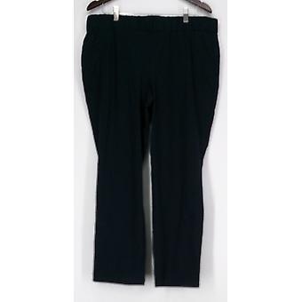 Femmes avec des pantalons de contrôle régulier s'est fait tailler bien à la taille Faux Poches Bleu Marine A267641