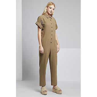 Louche Short Sleeve Leno Boiler Suit Khaki