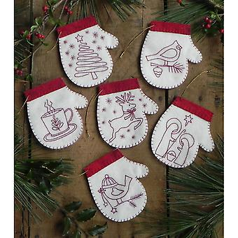 Redwork Mittens Ornament Kit Set Of Six K0614