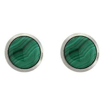 Clip On Earrings Store Green Striped Stone Round Button Clip On Earrings