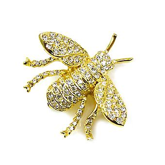 Kenneth Jay Lane små gull & Crystal Bee brosje