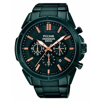 Pulsar Mens Black Dial Black Stainless Steel Strap PT3765X1 Watch