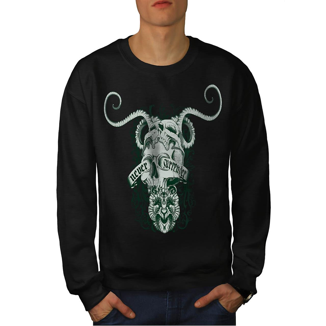 Never Surrender Skull Goat Head Men Black Sweatshirt | Wellcoda