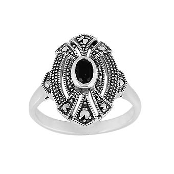 Gemondo in zilver echt 0,30 ct Black Onyx & Marcasiet Art Deco Ring