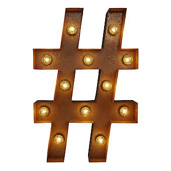 Large Vintage Letter Lights - Hash Tag