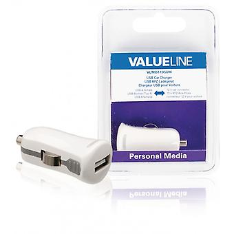 ValueLine car charger with USB connector, USB A female-12V car plug, white 2 (1)