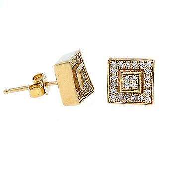 925 sterling silver MICRO PAVE earrings - LAYER 8 mm gold