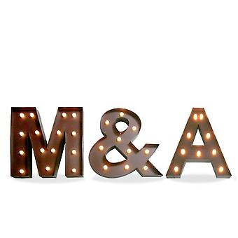 Wellindal Decorative lighting Metal Letters M & A-Iron Age