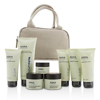 Ahava Essential Beauty Case: Body Exfoliator+Body Lotion+Cleanser+Facial Exfoliator+Mask+Day Cream+Night Cream+Eye Cream+Beige Bag 8pcs+1bag