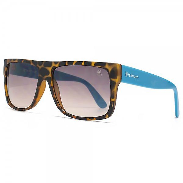 Fenchurch Flat Top Sunglasses In Matte Tortoiseshell With Blue Rubber Temples
