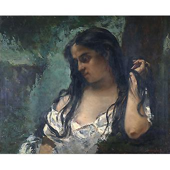 Gustave Courbet - Gypsy in Reflection Poster Print Giclee