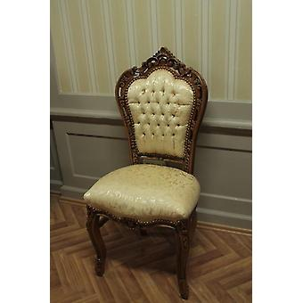 antique dining chair baroque-style beige skai fabric