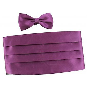Knightsbridge Neckwear Bow Tie and Cummerbund Set - Purple