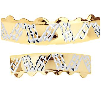 Gold Grillz - One size fits all - Diamond Cut Plate - SET