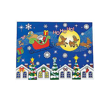 12 Night Before Christmas Santa Sticker Scene Crafts for Kids