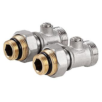 Straight/Angled Double Shut-off Heater Valve Bottom Water Entry Downside Inlet