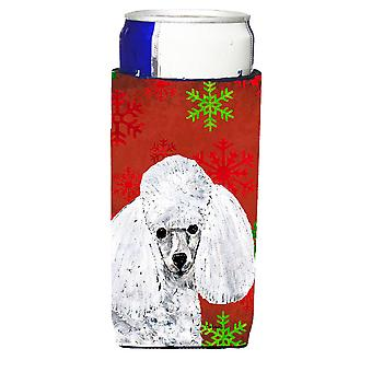 White Toy Poodle Red Snowflakes Holiday Ultra Beverage Insulators for slim cans