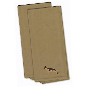 German Shepherd Tan Embroidered Kitchen Towel Set of 2
