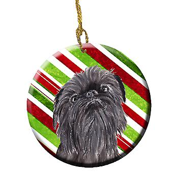 Brussels Griffon Candy Cane Christmas Ceramic Ornament