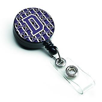 Lettera D calcio viola e bianco retrattile Badge Reel