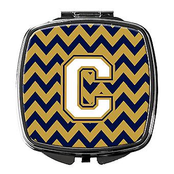 Letter C Chevron Navy Blue en Gold compacte spiegel