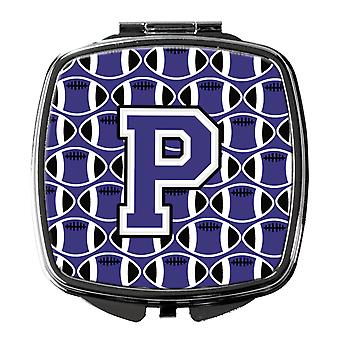 Letter P Football Purple and White Compact Mirror