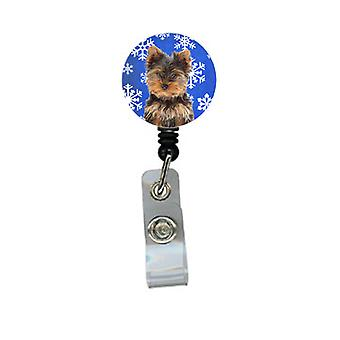 Winter Snowflakes Holiday Yorkie Puppy / Yorkshire Terrier Retractable Badge Ree