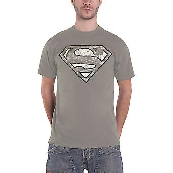 Superman T Shirt Distressed classic Logo new Official Mens Grey
