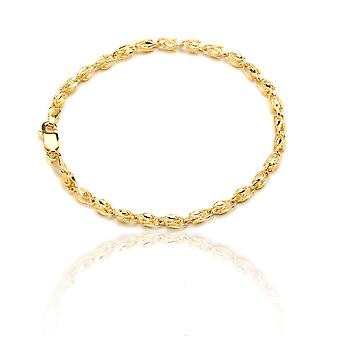 Floreo 10k Yellow Gold Turkish Rope Chain Bracelet and Anklet , (3.5mm)