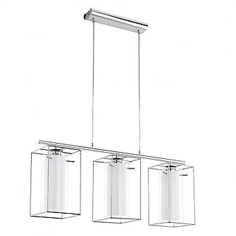 Eglo Loncino Chrome Triple Island Pendant With Glass Tubular Shades
