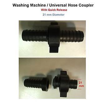Washing Machine Hose Coupler - With Quick Release - Universal / Dishwasher 21 mm