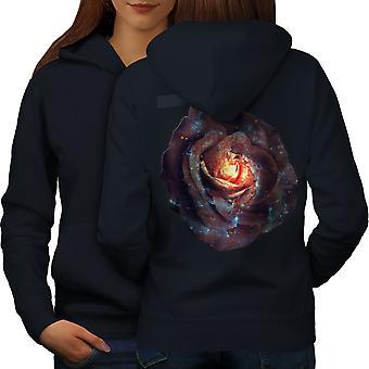 Космическая Роза природа женщин NavyHoodie обратно | Wellcoda