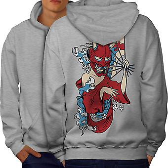 Evil Devil Girl Men GreyHoodie Back | Wellcoda
