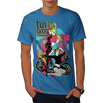 Turbo-Küken coole Biker Männer Royal BlueT-Hemd   Wellcoda