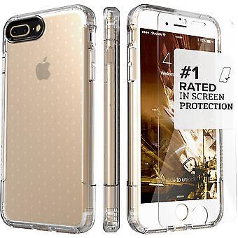 SaharaCase iPhone 8 Plus & 7 Plus Crystal Clear caso, inspirar protección Kit paquete con ZeroDamage de cristal templado