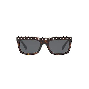 Valentino Studded Brow Sunglasses In Havana