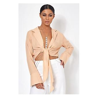 The Fashion Bible Roma Beige Chiffon Tie Front Top