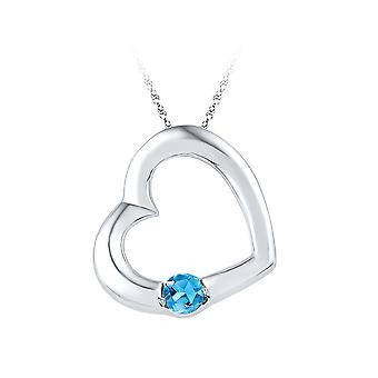 Lab Created Blue Topaz Heart Pendant Necklace 1/6 Carat (ctw) in Sterling Silver