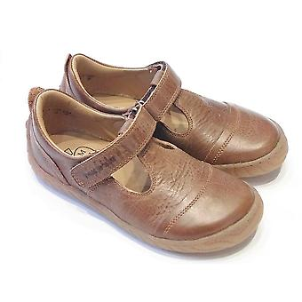 Pom D'Api Woody West Brown Leather T-bar Shoes