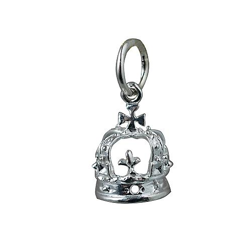 Silver 9x8mm Royal Crown Pendant or Charm