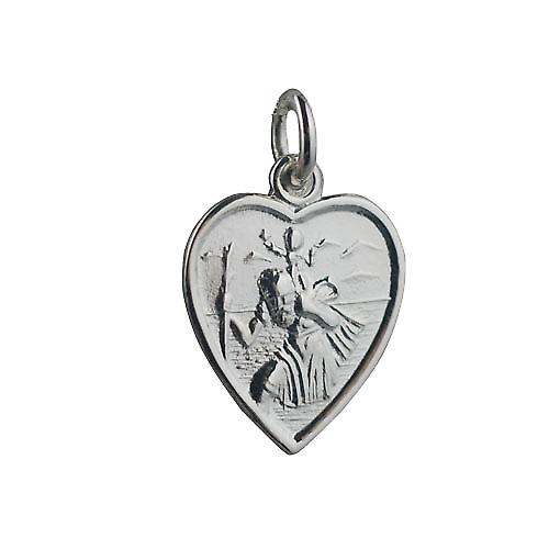 Silver 17x16mm heart St Christopher Pendant or Charm