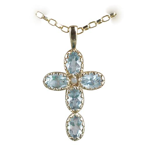 9ct Gold 25x16mm Cross set with 5 Aquamarine and 1 Pearl on a belcher Chain 16 inches Only Suitable for Children
